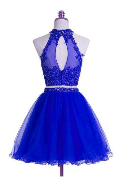 Lovely Two Piece Halter Tulle Homecoming Dress with Beadings, Short Prom Dress