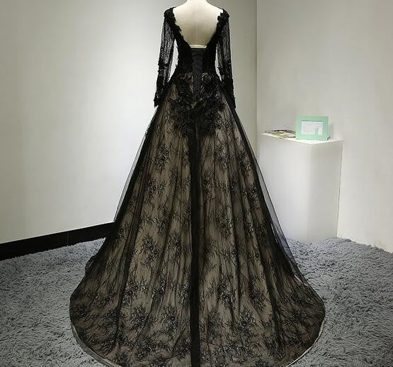 Beautiful Black Long Sleeves Lace Prom Dress 2020, Black Evening Gown