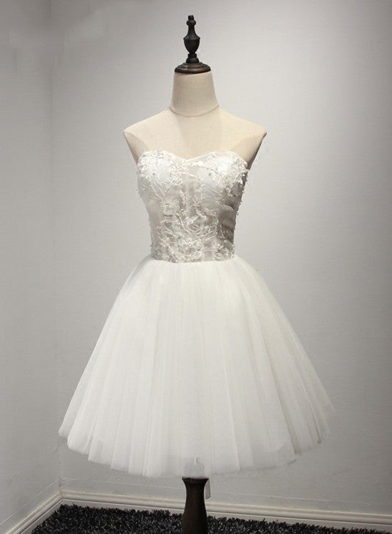 White Adorable Sweetheart Tulle Formal Dress, Lovely Formal Dresses 2019