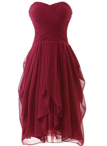 Lovely Wine Red Sweetheart Short Bridesmaid Dresses, Dark Red Prom Dresses