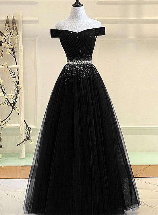 black tulle off shoulder prom dress 2020