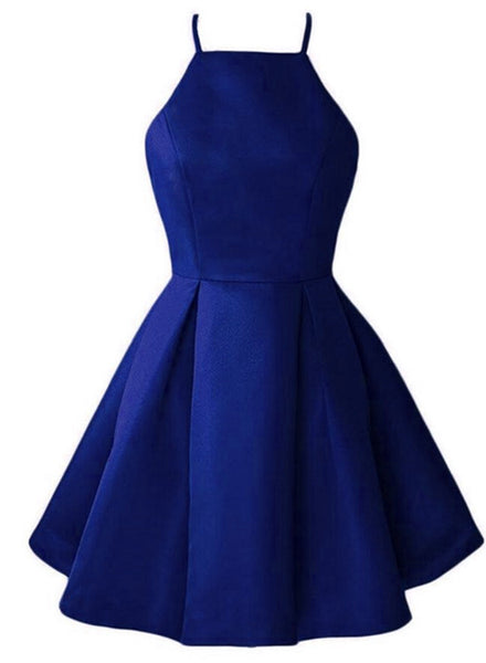 Blue Satin Halter Knee Length Bridesmaid Dress, Royal Blue Homecoming Dress