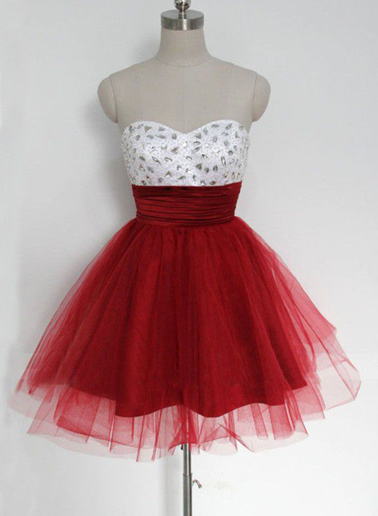 red tulle homecoming dress