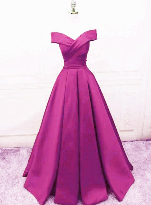 Beautiful Simple Off Shoulder Satin Sweetheart Party Dress, A-line Prom Dress