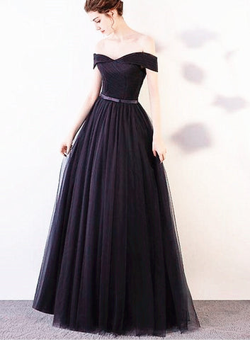 Black Tulle Off Shoulder Long Bridesmaid Dress, Black Simple Junior Prom Dress