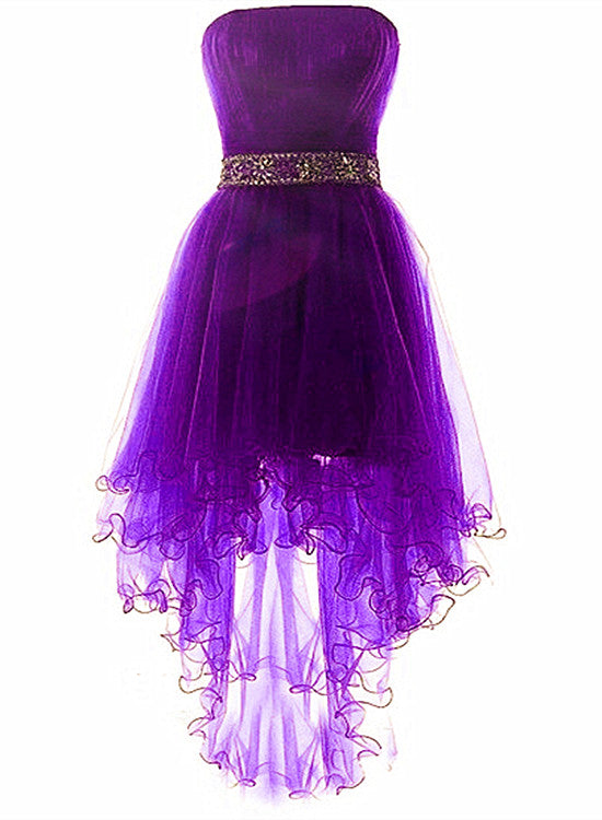 Purple Tulle Beaded Cute High Low Formal Dress, Lovely Scoop Short Prom Dress