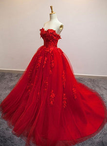 red tulle long sweet 16 dress