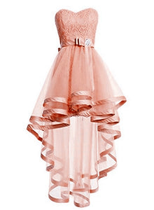 Cute Light Pink Sweetheart Tulle High Low Prom Dress, Short Pink Graduation Dress