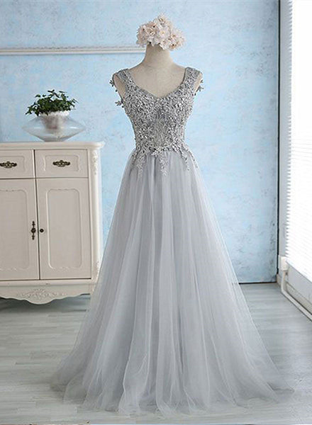 Beautiful Grey Lace Applique Long Tulle Prom Dress, Grey Party Dress 2020