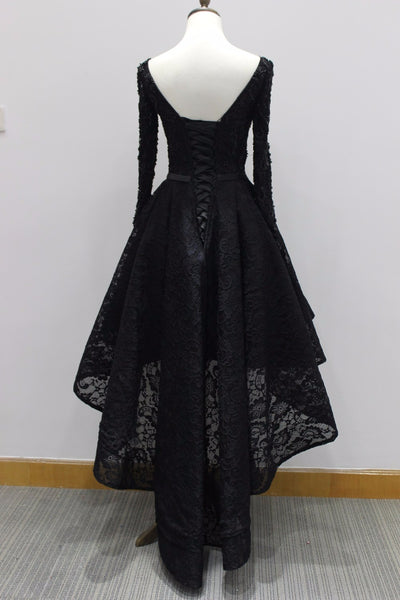 Long Sleeves Lace High Low Party Dress 2020, Beaded Black Evening Dress