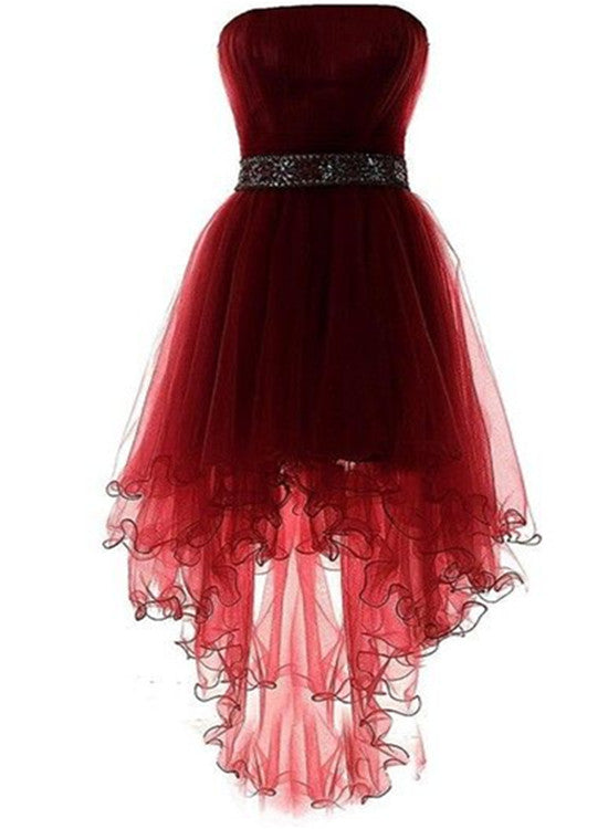 Wine Red Lovely High Low Tulle Homecoming Dress, Cute Party Dress 2019