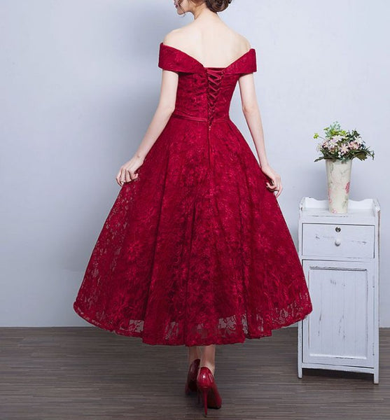 Charming Wine Red Lace Wedding Party Dress 2020, Bridesmaid Dress