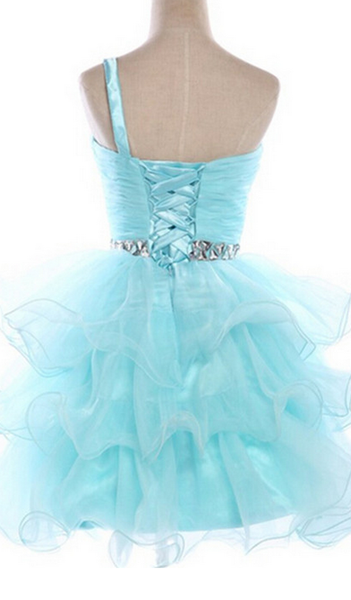 Cute Blue Ruched Beaded Short Homecoming Dress, Graduation Dress Featuring Ruffled Skirt