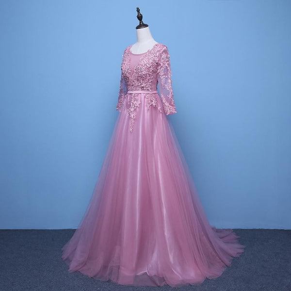 Charming Dark Pink Tulle Long Sleeves Party Dress, Prom Dress 2020