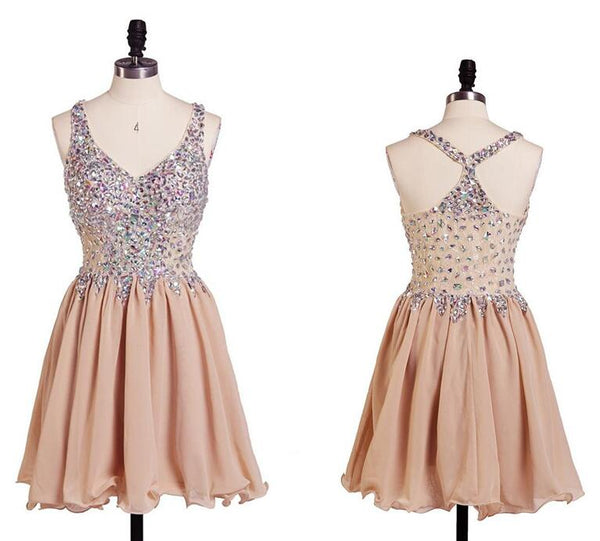 Beautiful Champagne V-neckline Beaded Homecoming Dress, Cute Short Party Dress