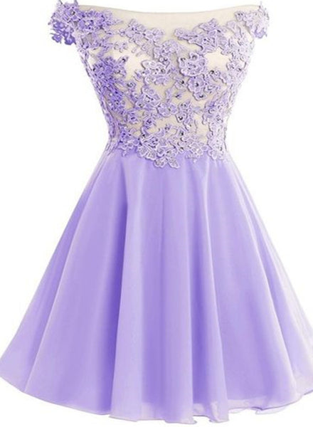 Beautiful Lavender Chiffon Knee Length Party Dress, Cute Homecoming Dresses 2019