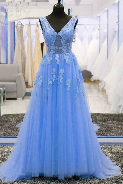 Glam Blue Tulle Long Party Dress 2019, Blue Formal Dresses with Lace Applique