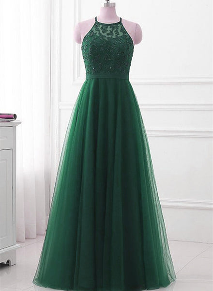 Dark Green Cross Back Tulle Halter Long Party Dress, A-line Junior Prom Dress