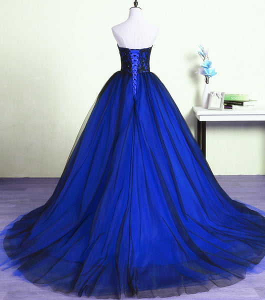 Glam Tulle Sweetheart Ball Gown Evening Gowns with Lace Bodice, Formal Dress