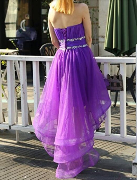 Cute A-line High Low Sweetheart Beaded Party Dress, Short Prom Dress Homecoming Dress