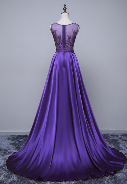 Beautiful Purple Long Round Neckline Prom Dress, Satin Wedding Party Dress
