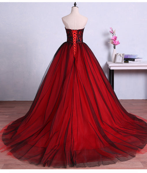 Charming Red and Black Sweet 16 Gown,, Tulle Ball Gown, Formal Dresses