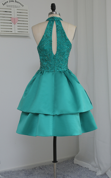 Chic Green Satin and Lace Layers Homecoming Dress, New Homecoming Dress