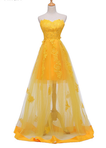 Light Yellow Tulle Sweetheart Party Dress, A-line Prom Dress
