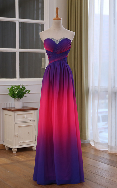 Beautiful Sweetheart Gradient Beaded Prom Dress, A-line Long Prom Dress