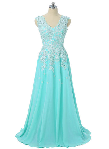 A-line Blue Chiffon with Lace Applique Party Dress, Long Prom Dress 2020