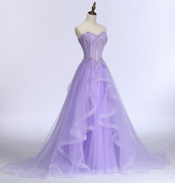 Lavender Sweetheart Tulle A-Line Lace Applique Party Dress, Beautiful Sweet 16 Dress