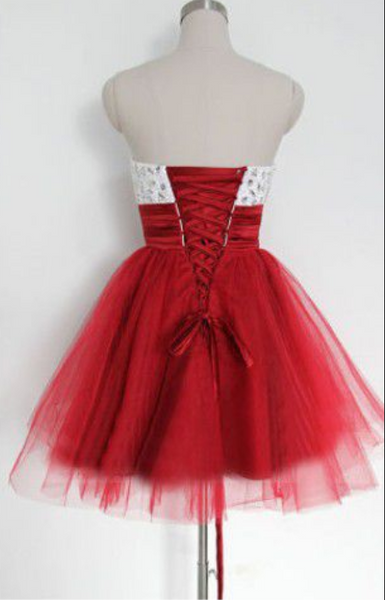 Cute Red and White Tulle Beaded Short Party Dress, Sweetheart Prom Dress