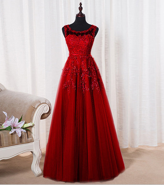 Elegant Wine Red Long A-line Tulle Prom Dress, Charming Party Dress 2020