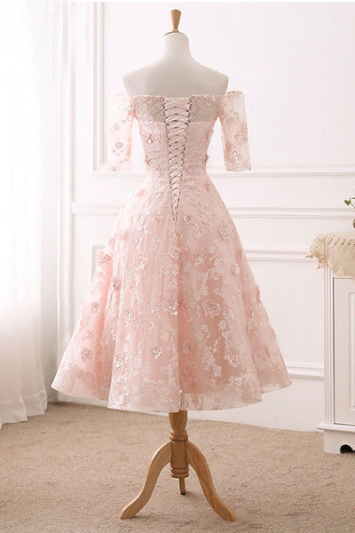 Light Pink Tea Length Floral Lace Wedding Party Dress, Cute A-line Prom Dress