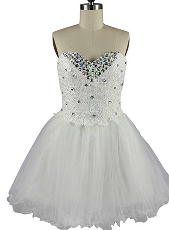 White Tulle and Lace Sweetheart Homecoming Dress, Short Prom Dress