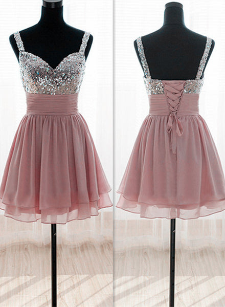 Beautiful Pink Sequins and Chiffon Bridesmaid Dress, Knee Length Lace-up Party Dress