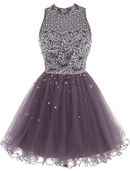Beautiful Short Tulle Beaded Homecoming Dress, Round Neckline Short Prom Dress