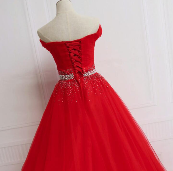 Charming Red Tulle Sequins Off Shoulder Party Dress, Red Formal Dress 2020
