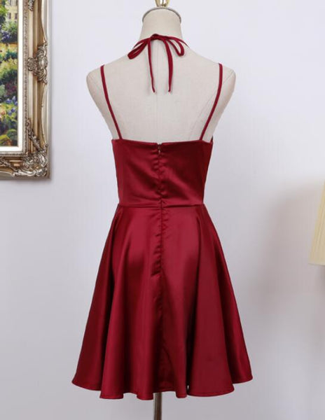 Cute Straps Dark Red Mini Party Dress, Dark Red Short Homecoming Dress