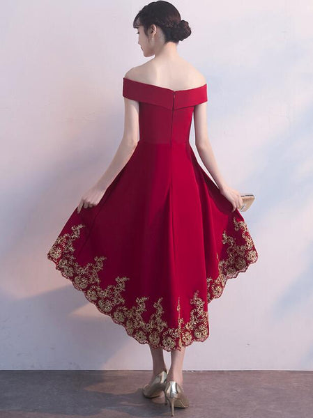 Red High Low Party Dress with Gold Applique, Stylish Formal Dress, Cute Party Dress