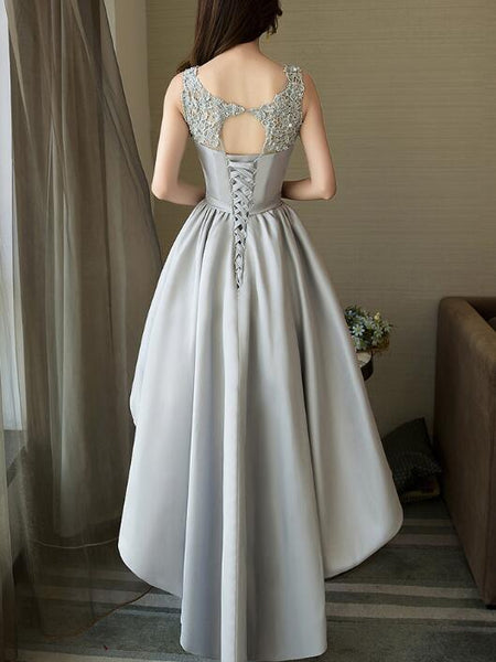 Lovely Grey High Low Style Prom Dress 2020, Grey Party Dress 2020