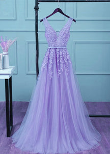 Light Purple Tulle Long Party Dress 2020, A-line Bridesmaid Dress