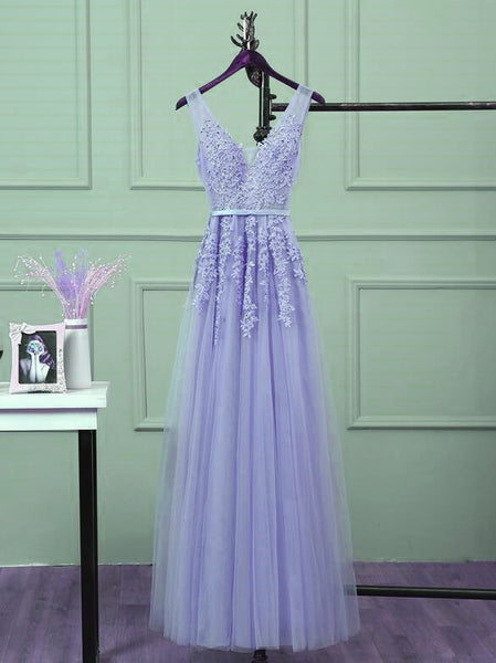 Cute Lavender V-neckline Tulle A-line Long Bridesmaid Dress, Prom Dress