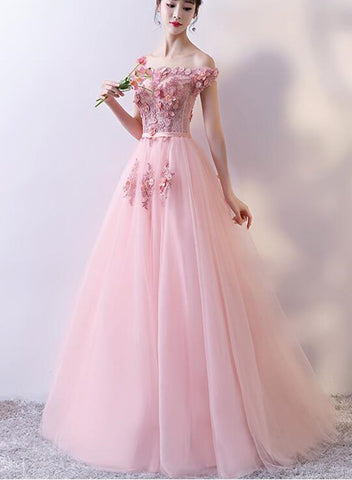 Pink Tulle Off Shoulder Flower Sweetheart Prom Dresses, Pink Party Dress