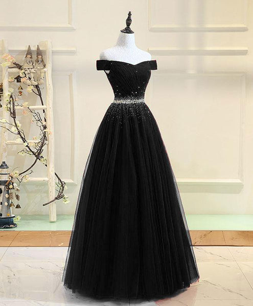 Beautiful Black Beaded Sweetheart Off Shoulder Party Dress, Long Prom Dress