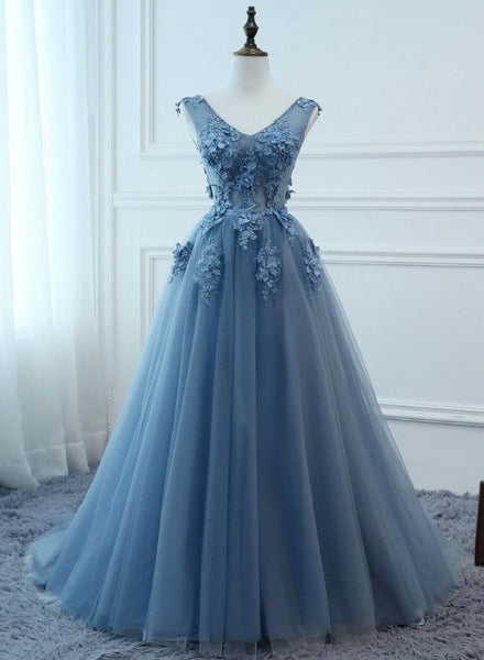 Elegant Blue V-neckline Tulle Lace Applique Prom Dress, Blue Formal Gown