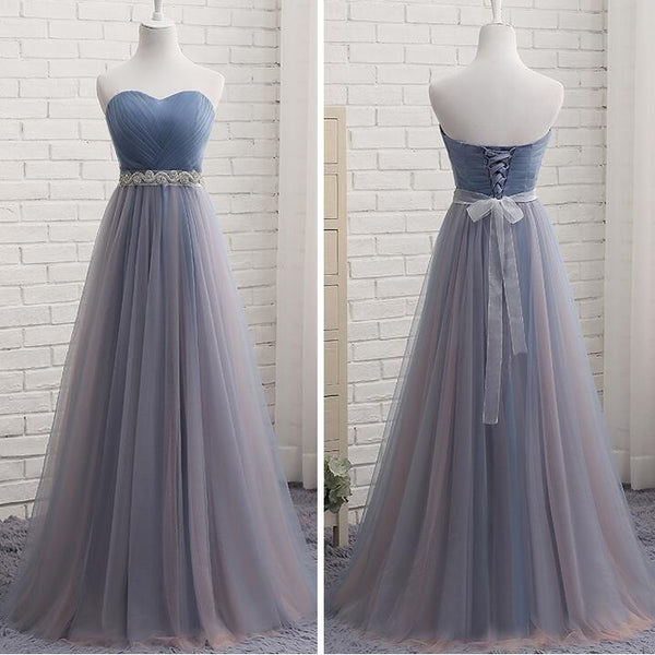 A-line Long Tulle Sweetheart Off Shoulder Party Dress, Bridesmaid Dress