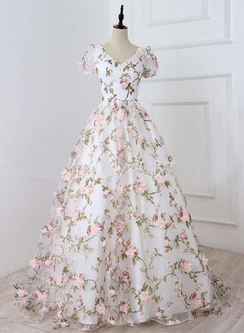 Charming White Floral V-neckline Long Party Dress, A-line Prom Dress 2020