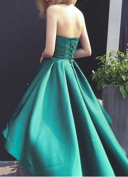 Stylish Green Satin High Low Party Dress, Homecoming Dress 2020
