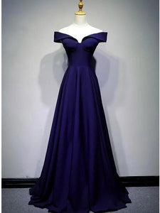 navy blue long prom dress